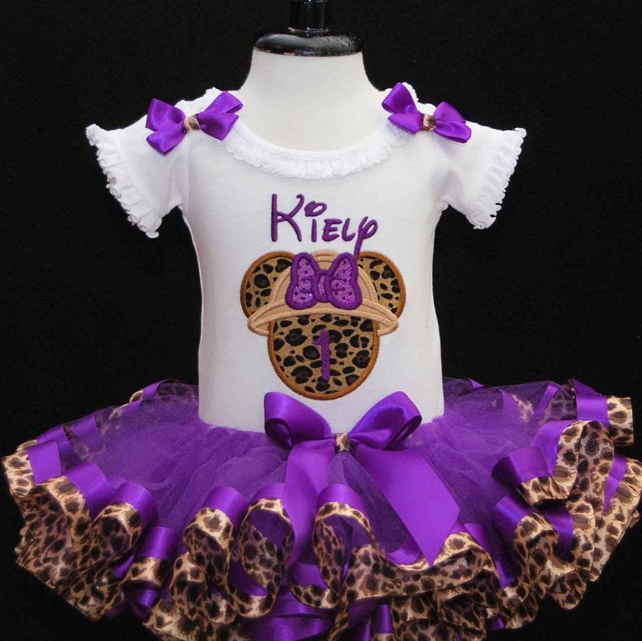 Safari Birthday Tutu Outfit with Leopard Ribbon Trimmed Tutu, 1st Birthday Tutu Outfit Minnie Mouse Birthday tutu outfit, purple safari