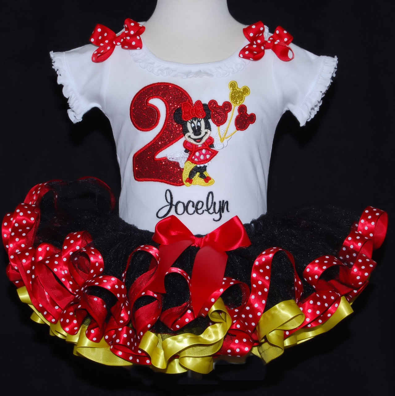 Sparkle Minnie Mouse 2nd Birthday Tutu Outfit Platinum Collection Red, Yellow and Black 2 pieces top and tutu only