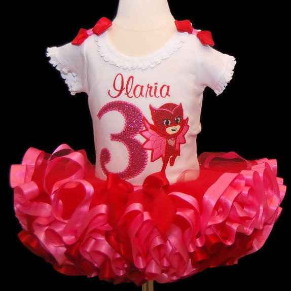 Tutu outfit 3rd birthday, ribbon trim tutu, 3rd birthday tutu outfit, cake smash outfit, third birthday outfit, owlette tutu outfit,
