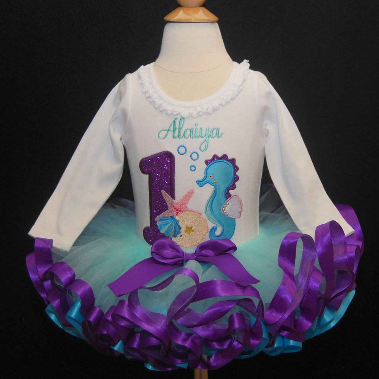 Under the Sea 1st Birthday Tutu Outfit, Ribbon Trimmed Tutu, Ocean Themed custom birthday outfit