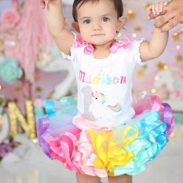 unicorn 1st birthday outfit smash cake rainbow tutu