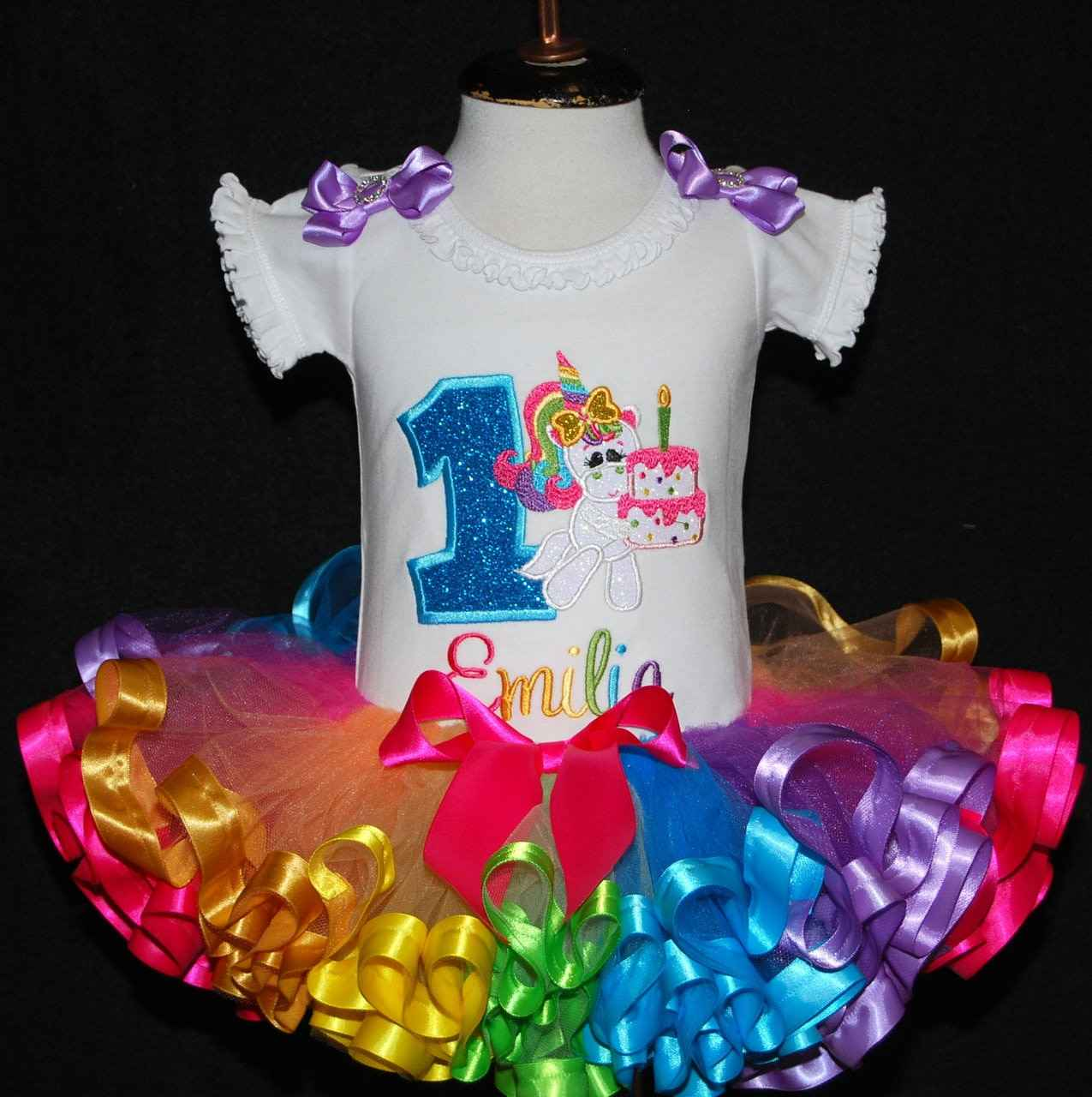unicorn 1st birthday outfit, rainbow tutu, custom birthday outfit,  1st birthday party