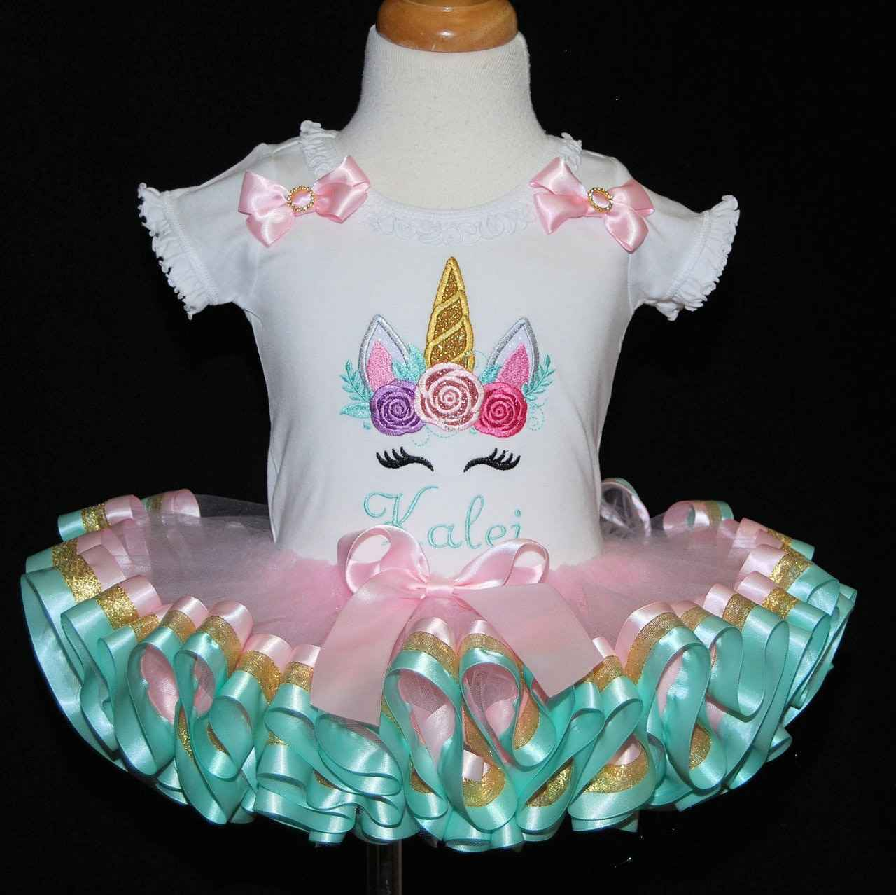 Unicorn 1st birthday girl outfit with a triple ribbon trimmed  tutu in pink, aqua and gold