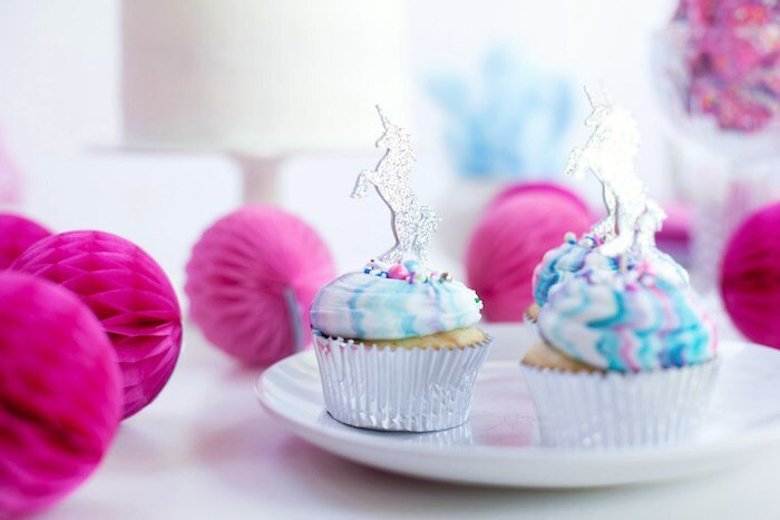 2nd birthday girl unicorn party table setting