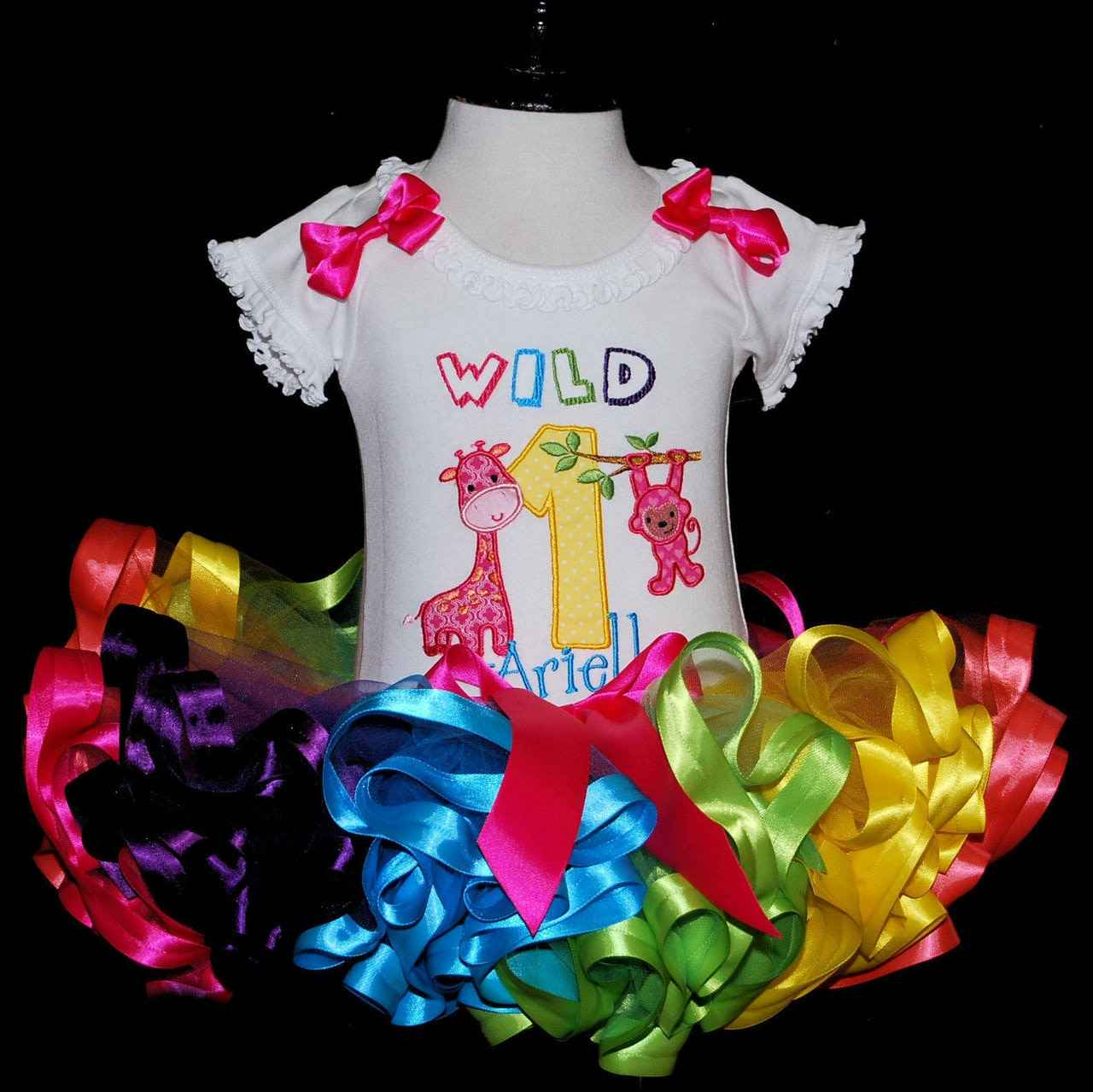 1st birthday outfit girl- Wild One birthday tutu outfit with a rainbow tutu