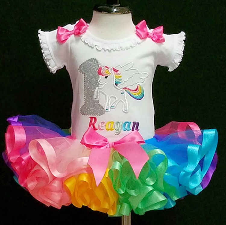 first birthday girl outfit  unicorn. Colorful Unicorn 1st birthday outfit with a ribbon trimmed tutu