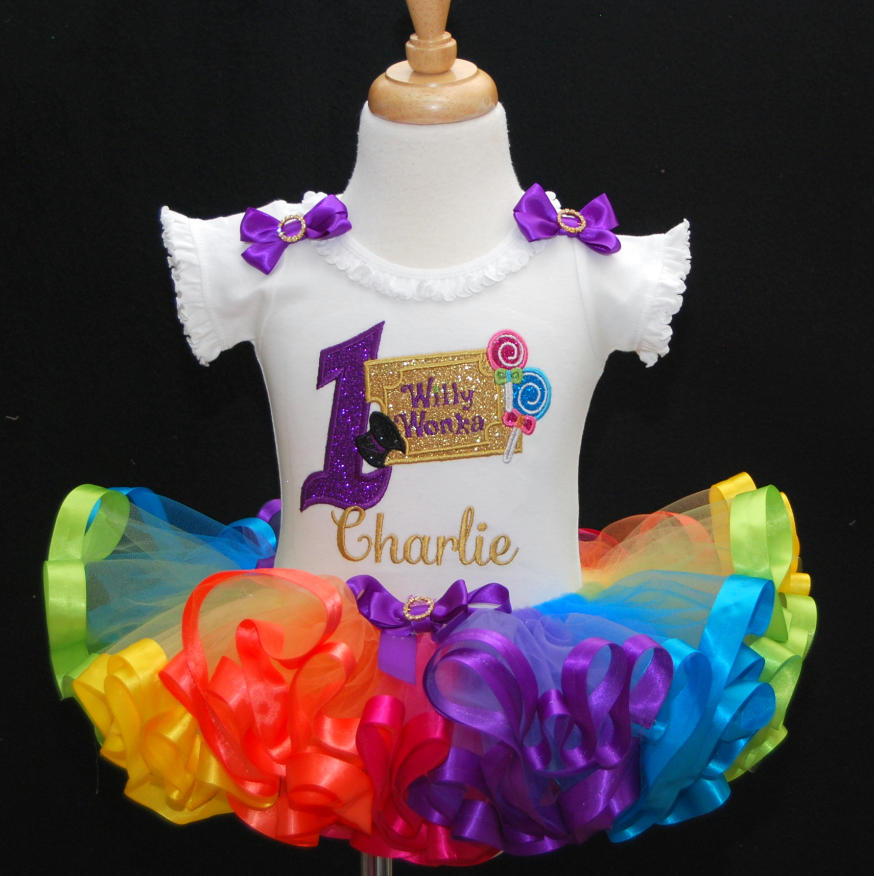 Willie Wonka 1st birthday outfit girl with rainbow tutu