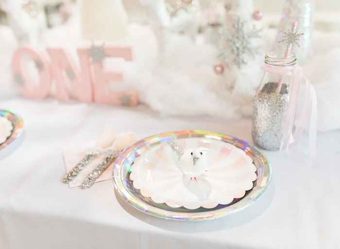 table setting for winter onederland  1st birthday party