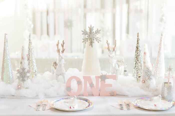 Party decor to match winter onederland 1st birthday outfit girl-