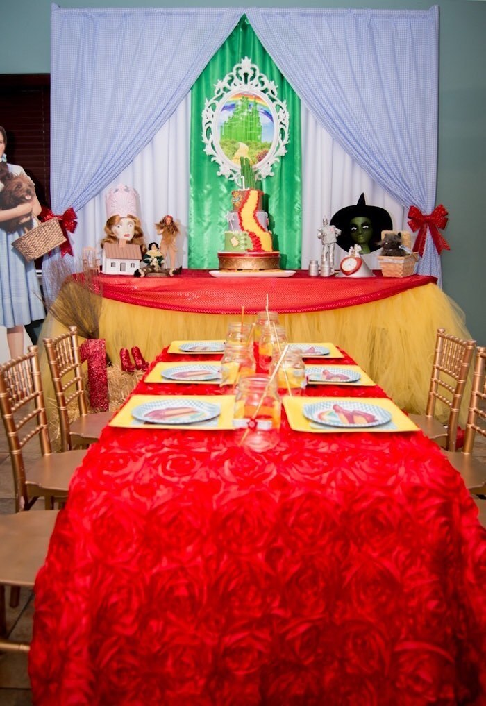 1st Birthday party decor - with  Wizard of Oz, Dorothy and Toto custom birthday outfit