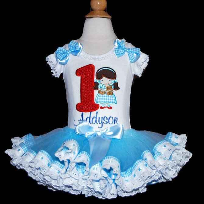 1st Birthday Outfit girl- Wizard of Oz, Dorothy and Toto custom birthday outfit with eyelet lace trim