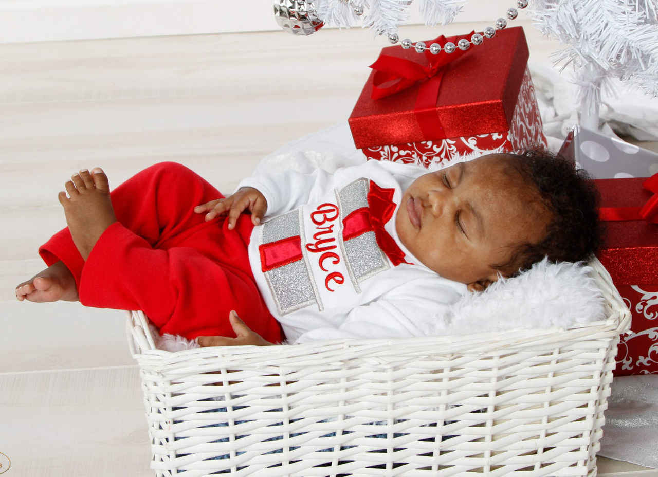 Christmas Gift Holiday outfit baby boy red and silver