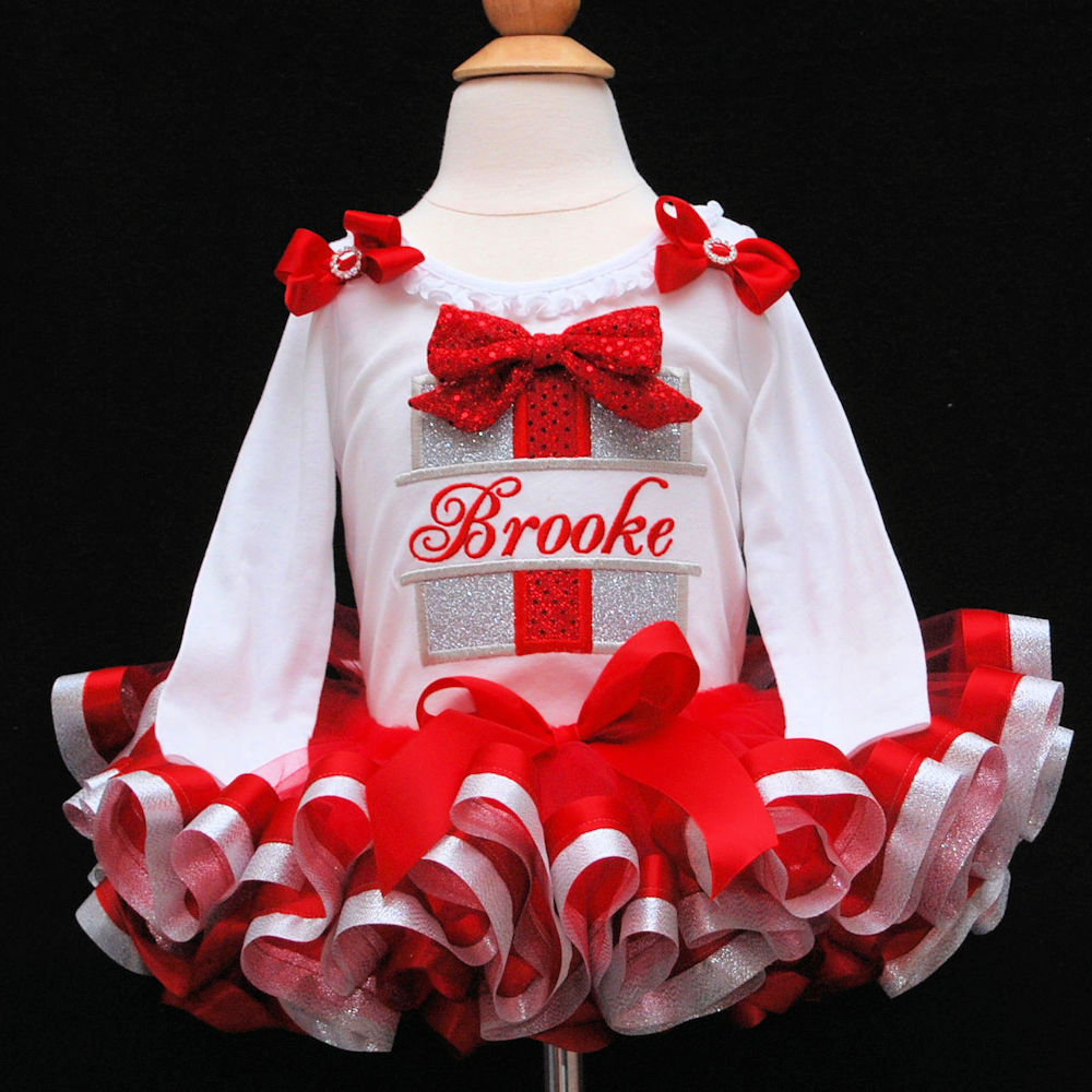 Red and Silver glitter Christmas outfit with ribbon trimmed tutu