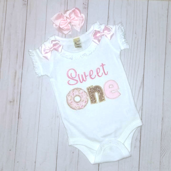 Sweet One birthday girl bodysuit and hair bow, 1st birthday outfit  girl-top and tutu in pink and gold pink