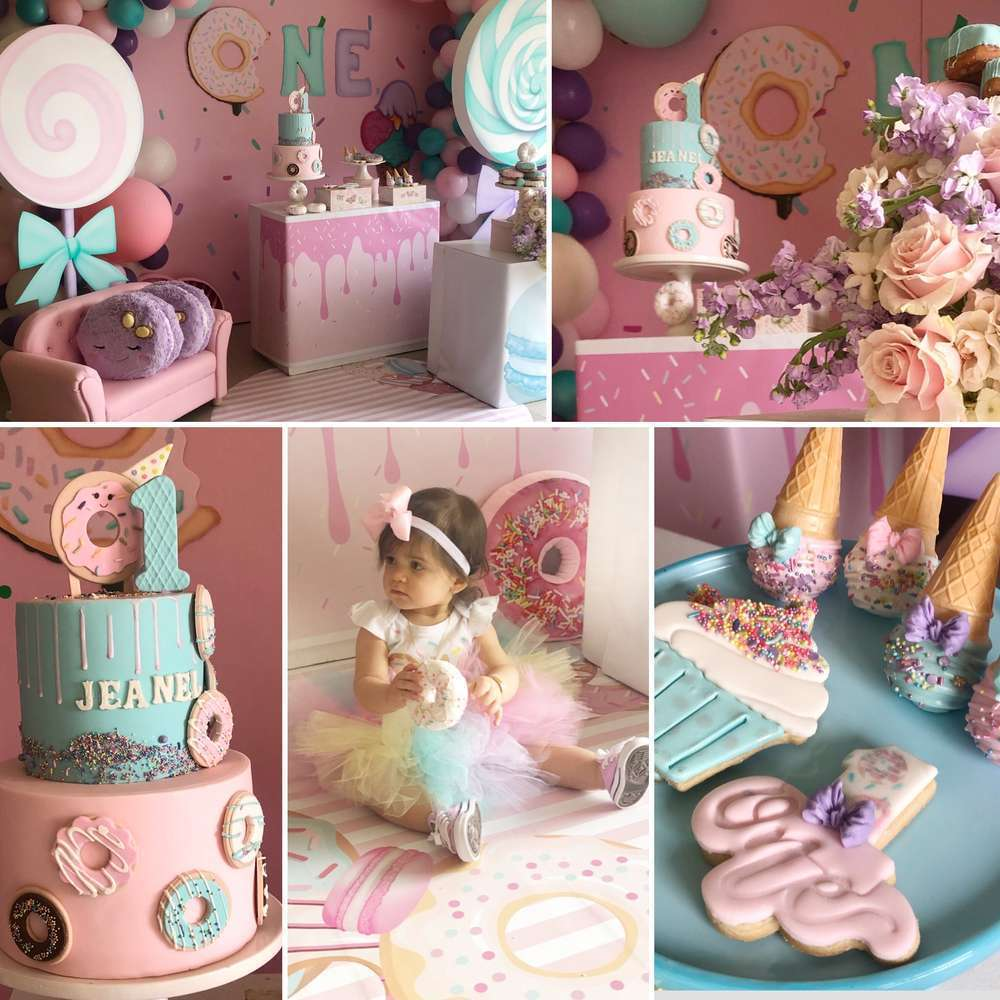 Sweet One birthday -party goodies table