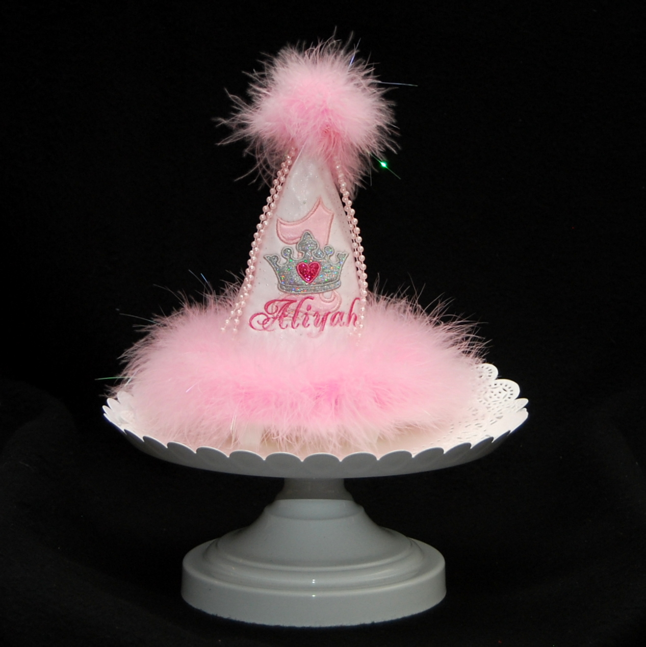 Princess crown party hat with feather trim