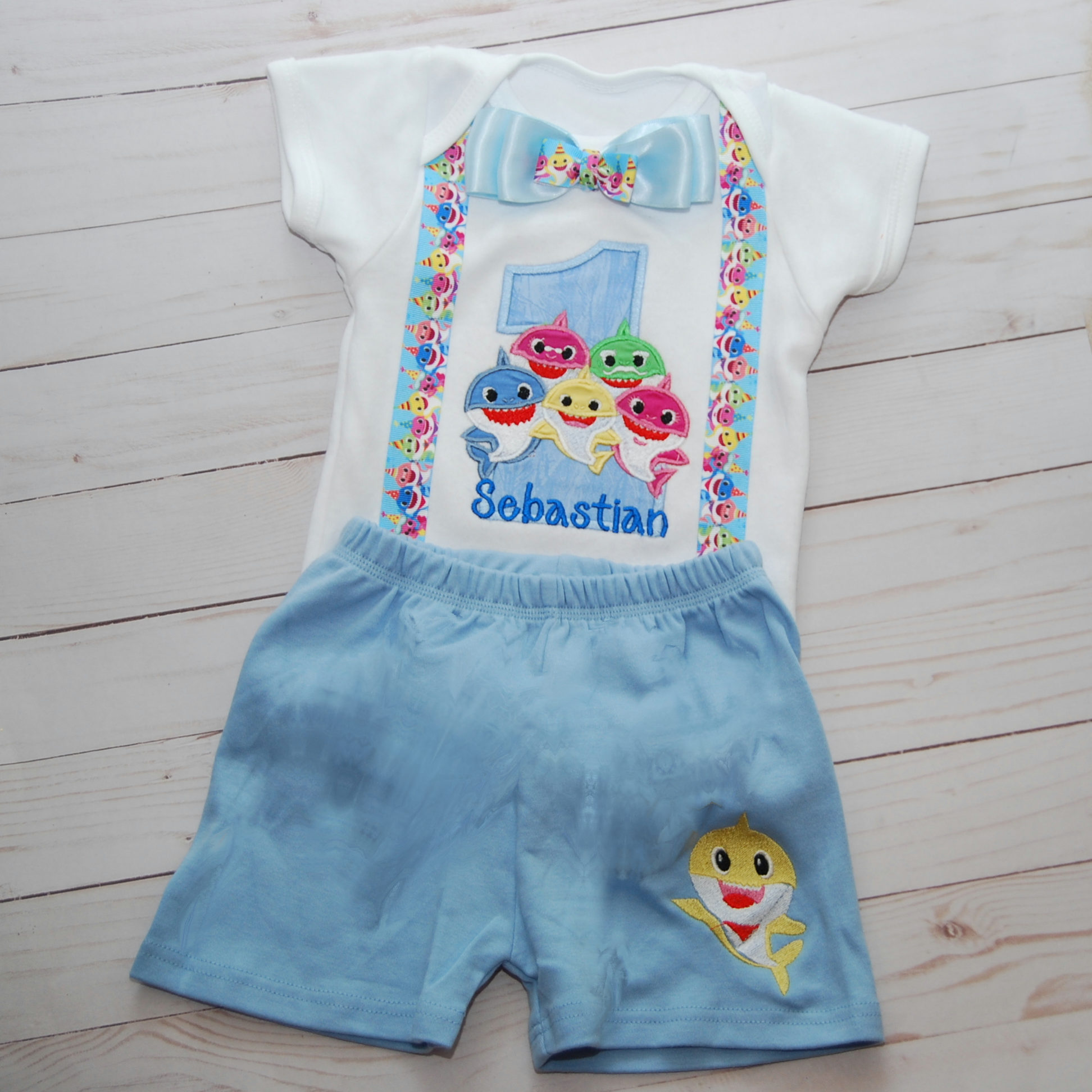 Baby shark Family 1st birthday boy outfit