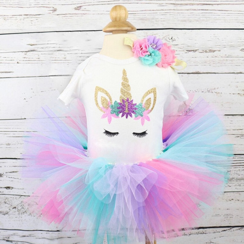 Toddler Baby Girl It's My First 1st Birthday Tulle Tutu Dress Outfits Summer Unicorn Party Infant Clothing Little Baby Clothes
