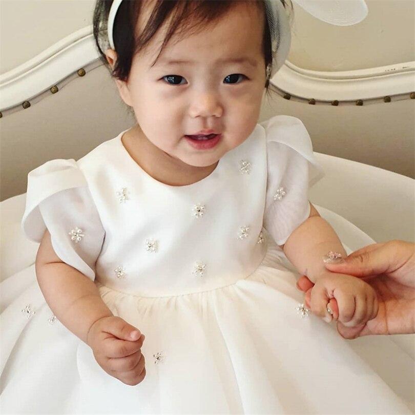 Baby 1st Birthday Party, Wedding Dress, Pearl Princess  Dress,  Girl Baby Baptism Dress