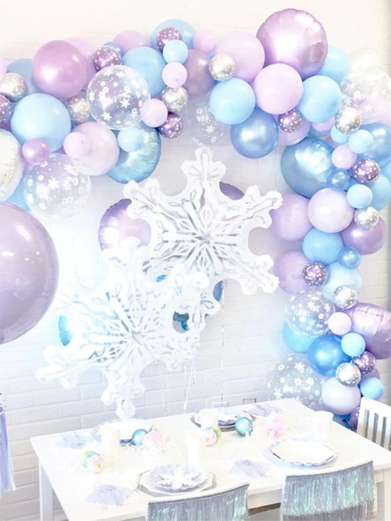 Elsa Anna Princess Snowflake Balloon Garland Arch Kit Christmas frozen Birthday Party Ice Balloon  Decor