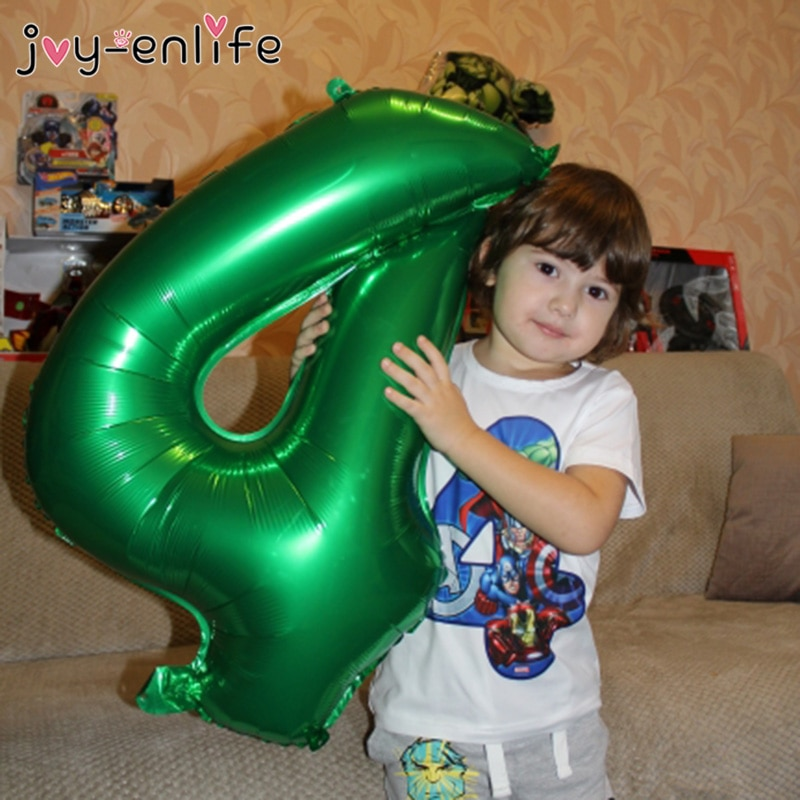 Green Number Foil Balloons Jungle Party Animal Balloon 1st Birthday Party Decorations Kid Safari Party Forest Party Decor Baloon