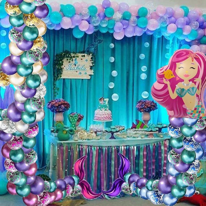 Mermaid Tail Balloon The Little Mermaid Birthday Party Balloons Mermaid Party Ballon Happy Birthday Party Decoration Girl Baby