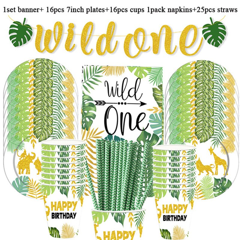 Wild One Birthday Party Balloons Name Box Paper plates cup Safari Party Forest Decoration Kids First 1st Birthday Jungle Party