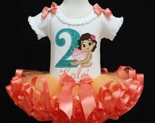 this image is of  a 2nd birthday outfit girl  made with an embroidery design Princess Moana and a glitter number 2.  This Princess Tutu outfit has a fluffy ribbon trimmed tutu