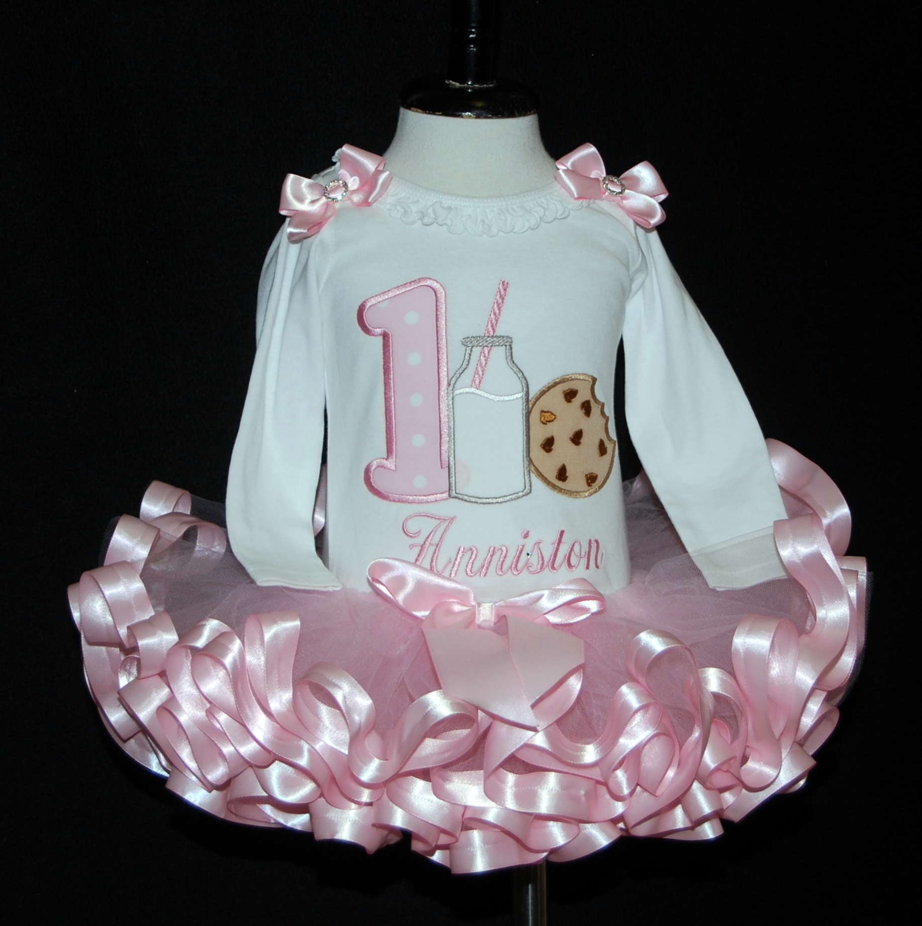 Cookies and Milk  1st Birthday Outfit, Ribbon Trimmed Tutu