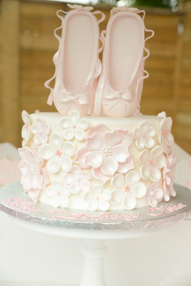Ballerina birthday cake white and pink