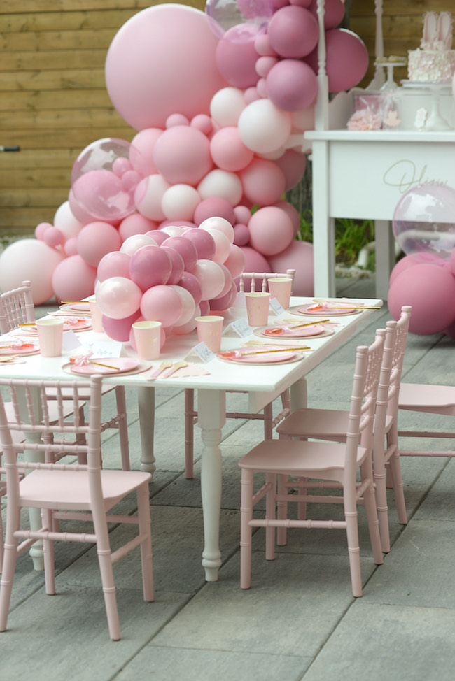 table setting for ballerina birthday party