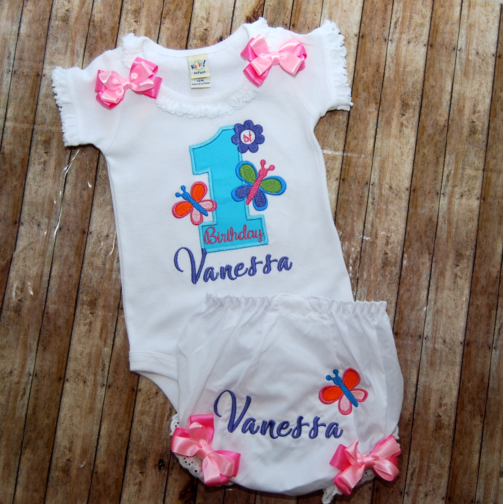Butterflies are Free , embroidered top, matching bloomers and  a cute chiffon ruffled tutu