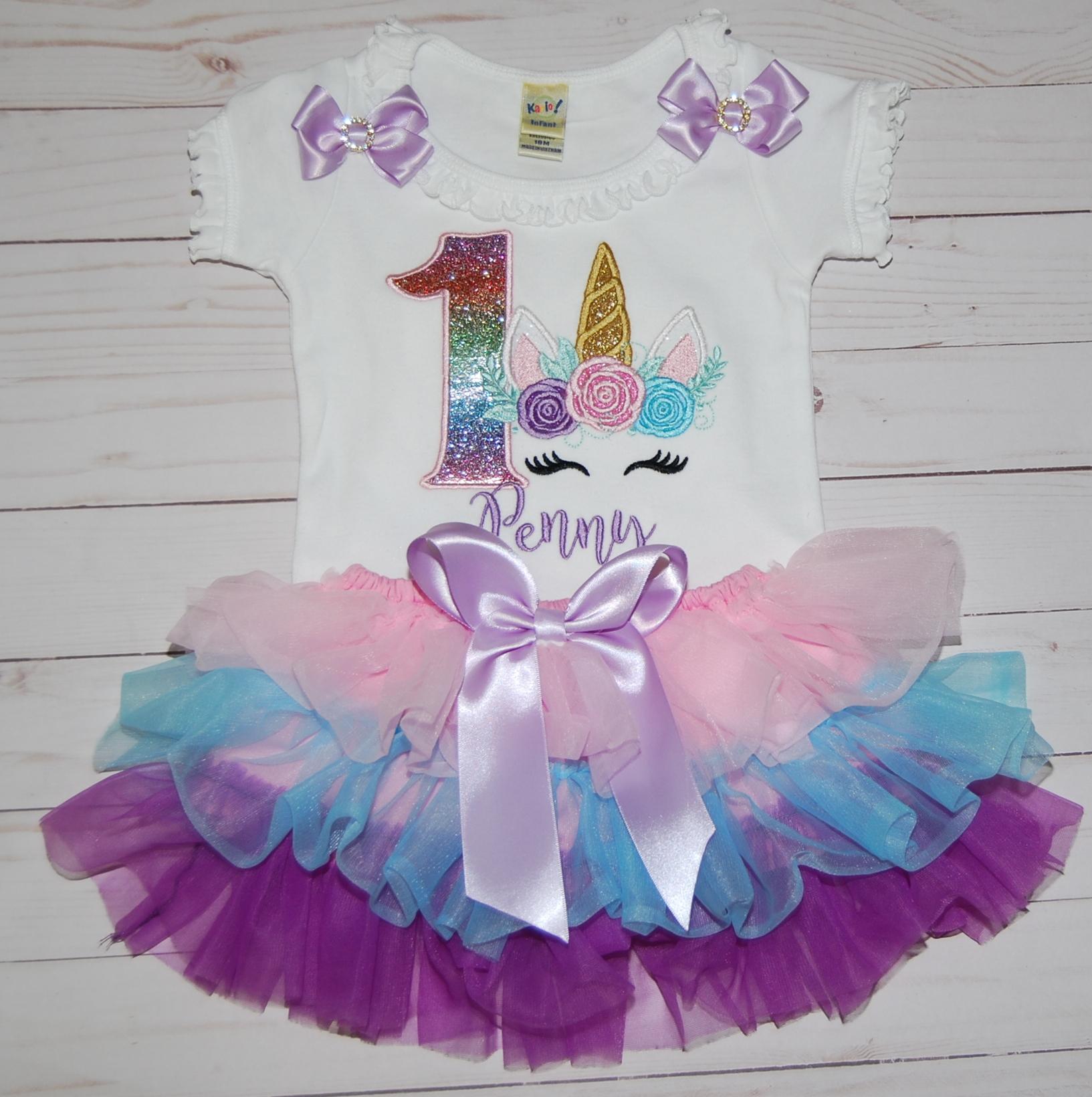 Rainbow glitter unicorn 1st birthday cake smash outfit, perfect for photoshoot