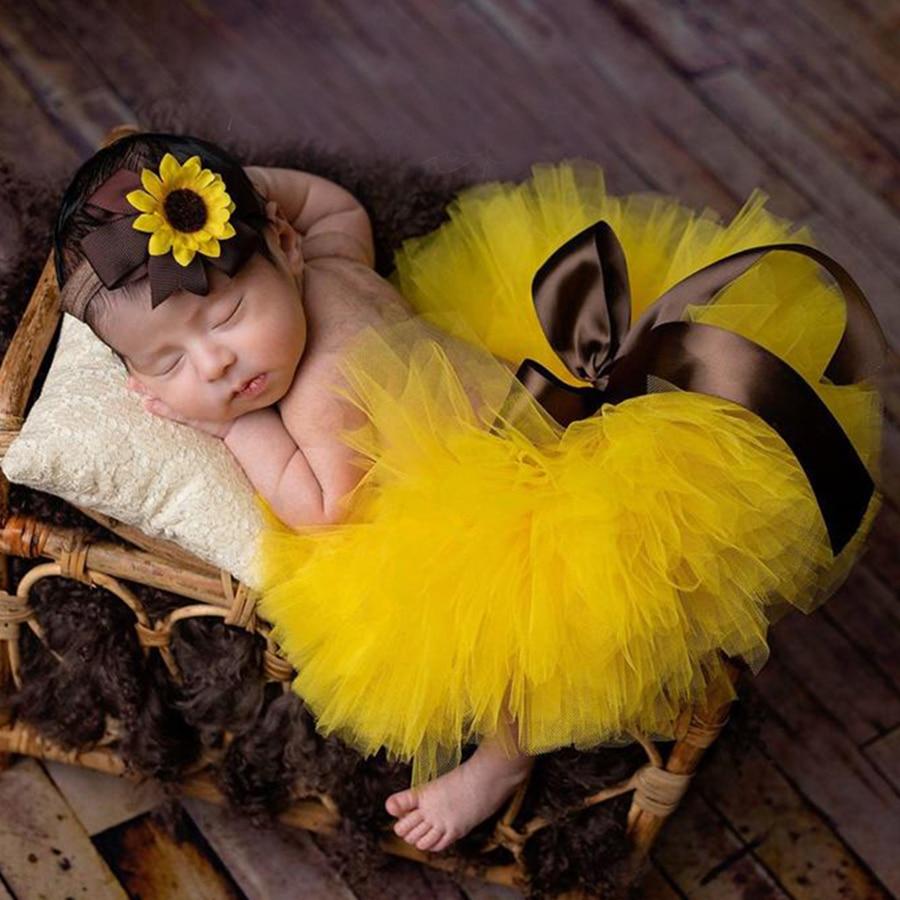 Fluffy Sunflower Tutu Set Baby with Headband   Newborn Photo Prop Infant  clothes