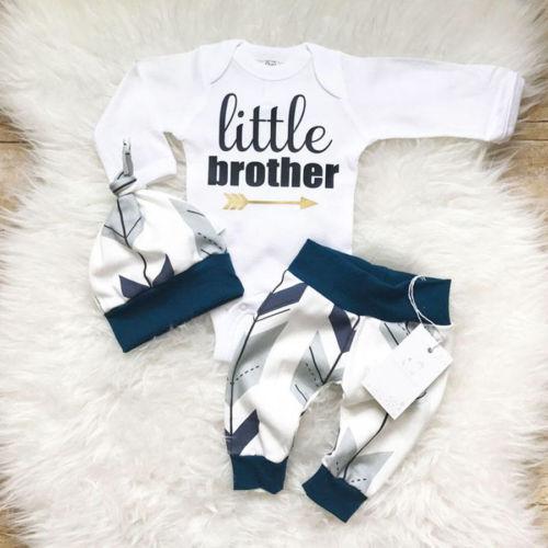 Little Brother Printed 3Pcs Infant Set, Newborn Toddler Infant Baby Boys Clothes,  Bodysuit Pants Hat Set 0-24M