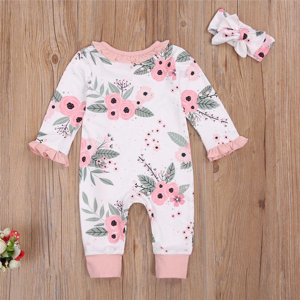 Lovely Infant Baby Girl Floral Romper Ruffle Edge Buttoned Collar Long Sleeve Long Pants Bowknot Hairband