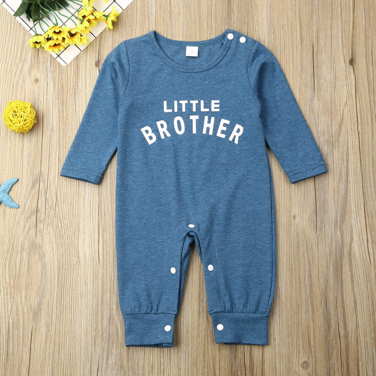 2020 Newborn Baby Boy Long Sleeve Little Brother Romper Jumpsuit One-Piece Clothes Baby Boy Girls Outfit Baby Clothes