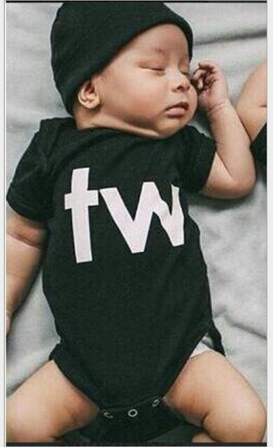 Baby Twins Outfits Baby Girls Boys Bodysuits Black White Letter Print Short Sleeve Newborn Boy Clothes New Born Rompers