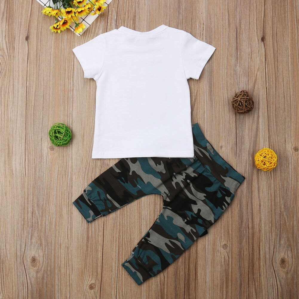 Summer Hot Sale Baby Boy Clothes Set Short Sleeve White T-shirt+Camouflage Long Pants 2pcs Outfits LIKEA BOSS 0-3Y Clothes Set