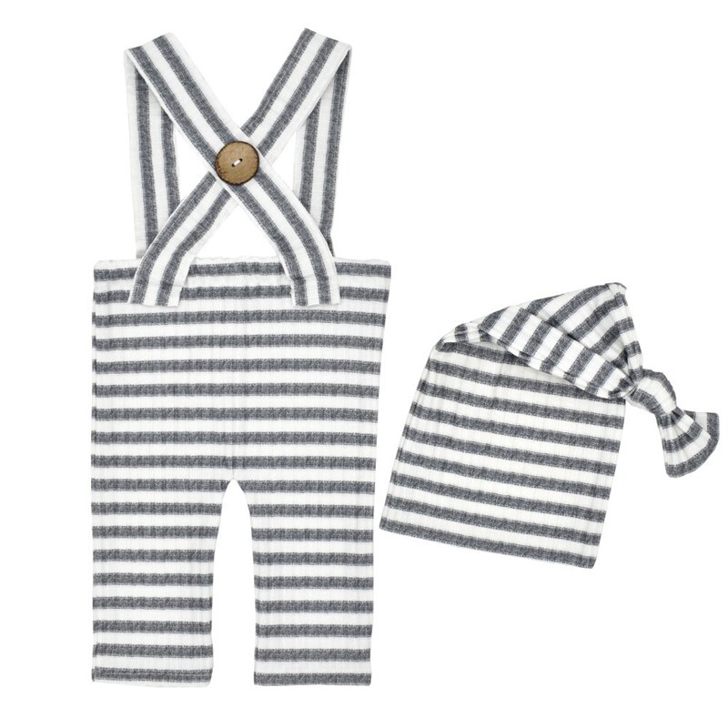 Newborn Photography Clothing Infant Knot Hat+Overalls 2Pcs/Set Baby Photo Props Accessories Studio Newborn Shooting Clothes