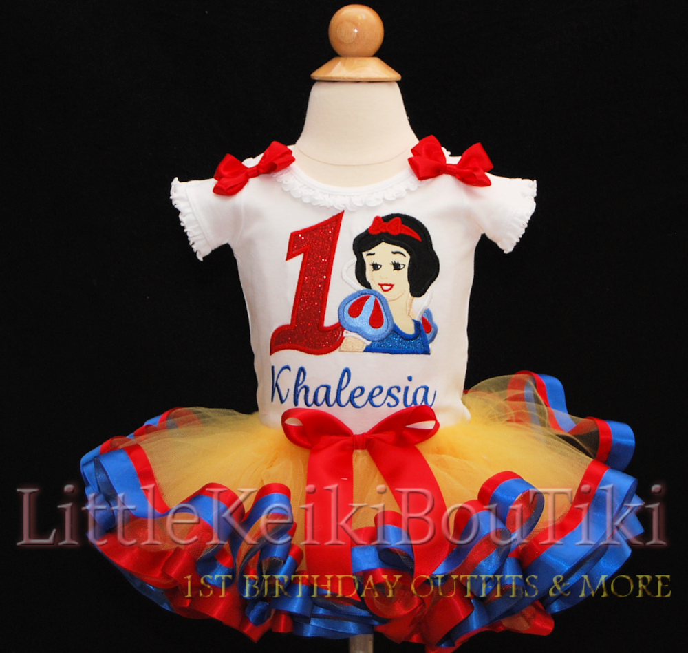 1st birthday outfit girl, Snow White birthday outfit with ribbon trimmed tutu in yellow blue and red