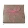 Shiny pink embossed 2-piece paper box with pink organza ribbon 1