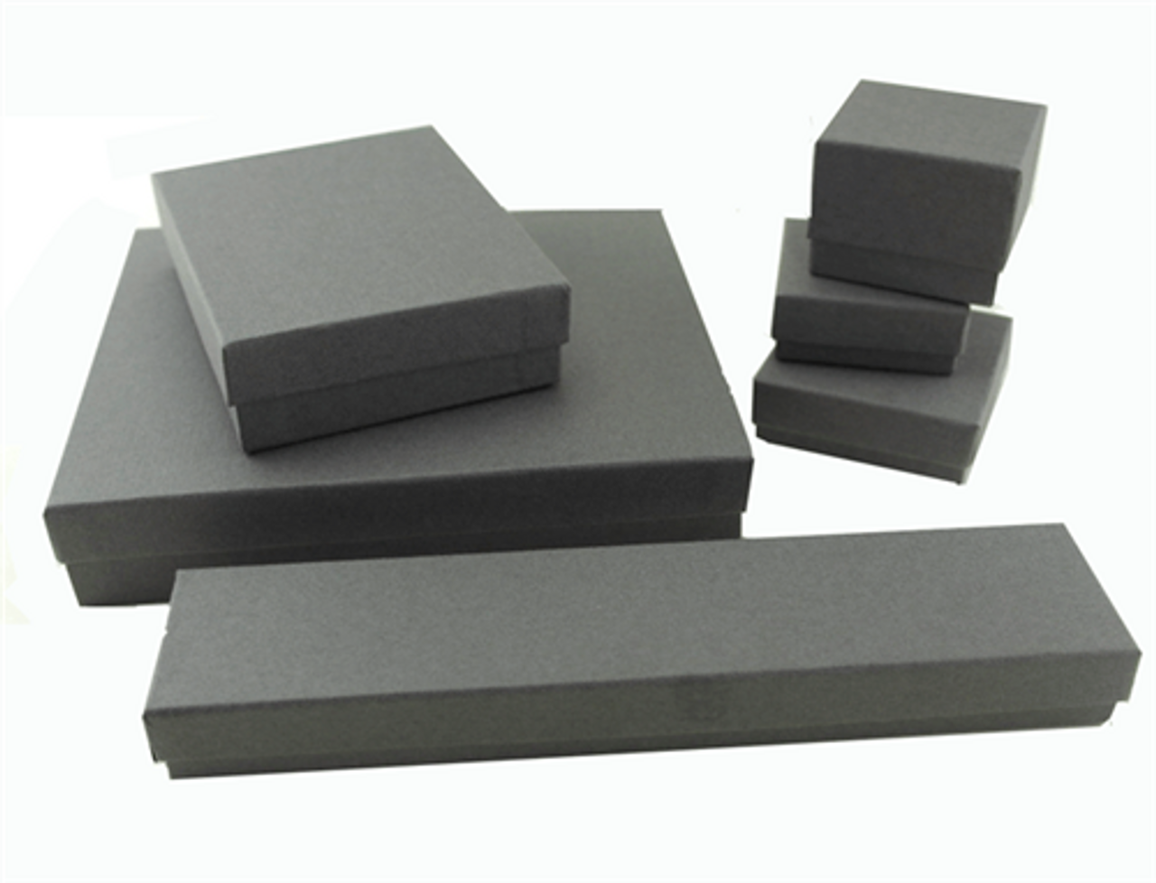Classic Grey Textured Paper 2 Piece Earring Box 1