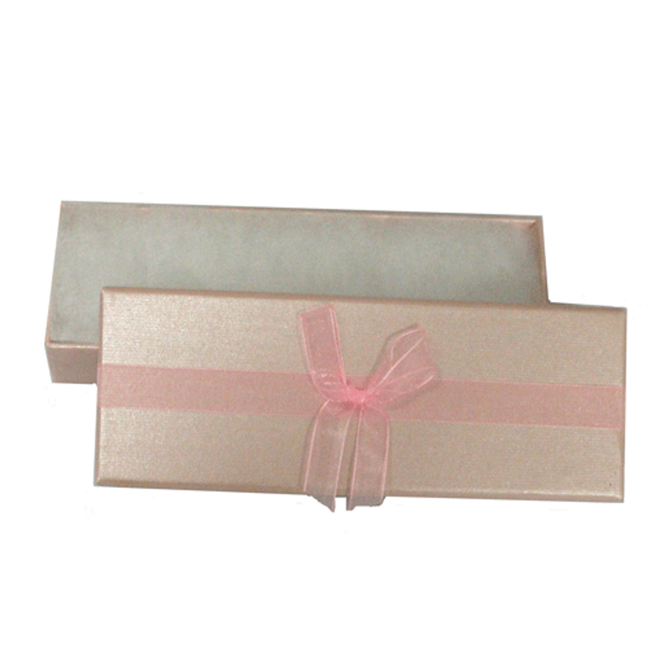 Shiny pink embossed 2-piece paper box with pink organza ribbon 2