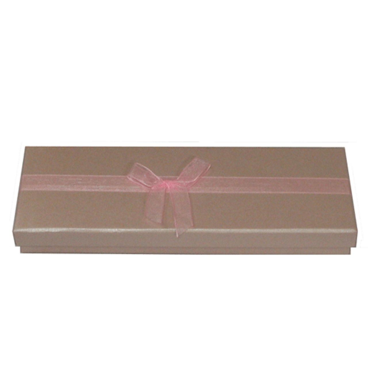 Shiny pink embossed 2-piece paper box with pink organza ribbon 4