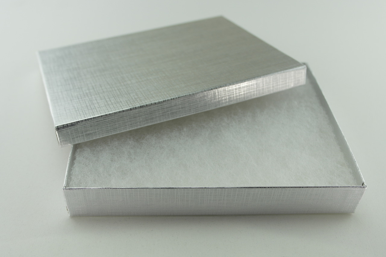 Brushed Silver Necklace Box with Cotton Fill