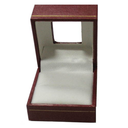 Red leatherette ring box with acetate window