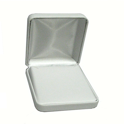 White metal soft leatherette pendant box