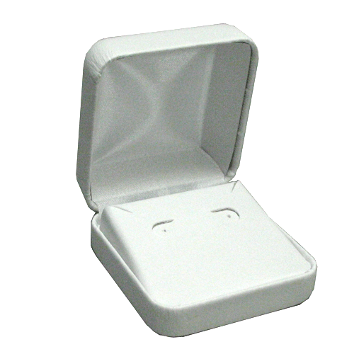 White leatherette hoop earring box