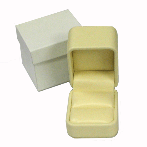 Soft Yellow Leatherette Ring Box